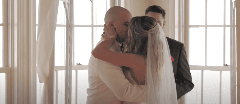 Photo of Valentine's Day couple, Lacey and Tyler, during their wedding | Photo: Youtube / 9news
