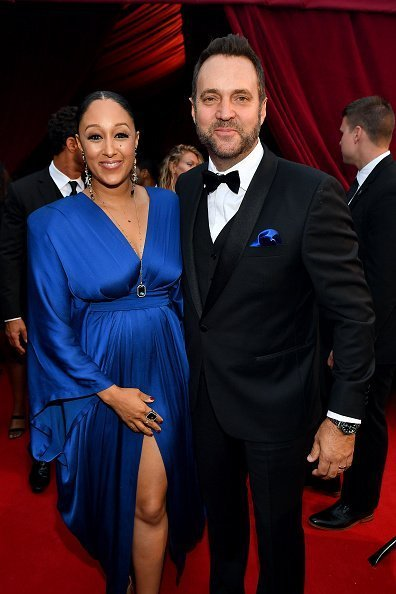 Tamera Mowry-Housley and Adam Housley at Tyler Perry Studios on October 05, 2019 in Atlanta, Georgia. | Photo: Getty Images