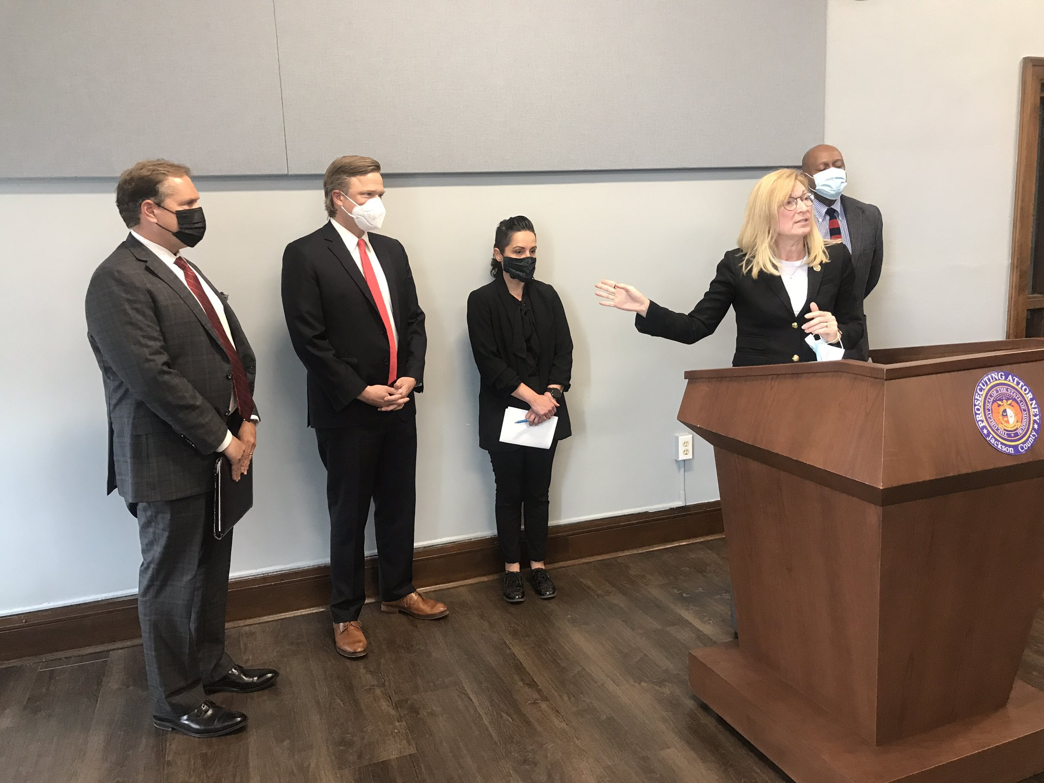 Prosecutor Jean Peters Baker at a press conference calling for the release of Kevin Strickland on May 10, 2021 in Kansas City   Source: Twitter/@angiericono