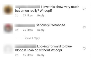 "Viewers of ""Blue Bloods"" comment on Whoopi Goldberg joining the cast for season 11. 
