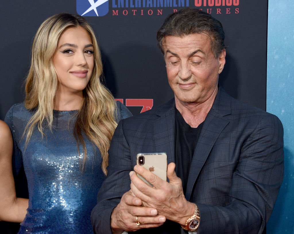 """Sistine Rose Stallone and Sylvester Stallone arrive at the LA Premiere Of Entertainment Studios' """"47 Meters Down Uncaged"""" at Regency Village Theatre on August 13, 2019 