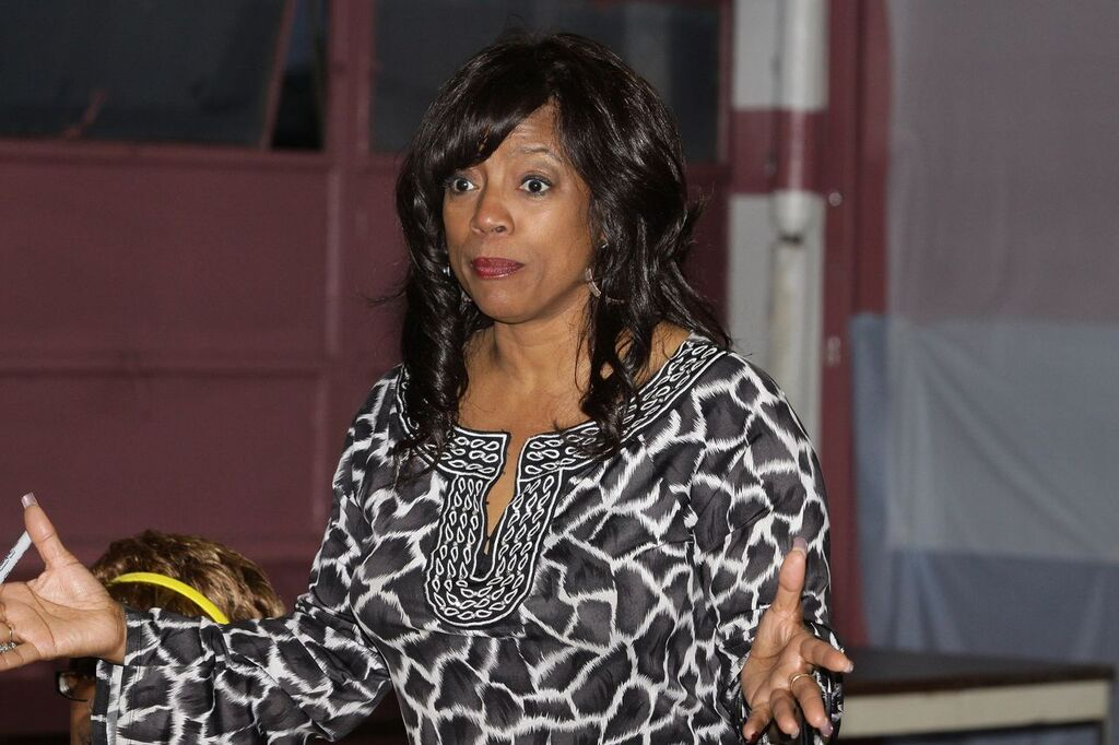 """Actress BernNadette Stanis(""""Thelma"""" from the television sitcom """"Good Times""""), speaks to residents at the Chicago Housing Authority Jane Addams Family Resource Center during a Public Housing Tour in Chicago, Illinois on APRIL 12, 2010 