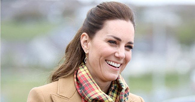 Kate Middleton Wears an All-Camel Look to a Royal Engagement – See Her Tartan Scarf & Hamilton & Inches Earrings