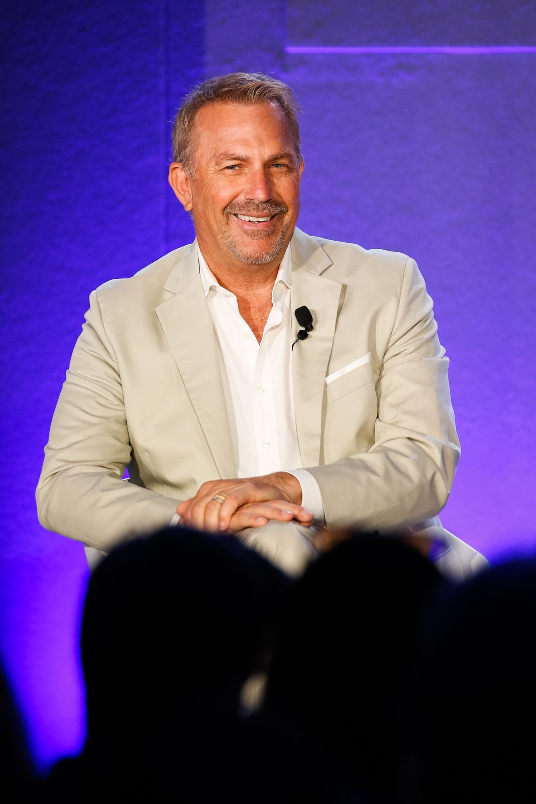 "Kevin Costner during ""A conversation with Kevin Costner from Paramount Network and Yellowstone"" at the Cannes Lions Festival on June 21, 2018, in France 