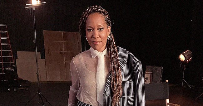 Check Out Regina King's Sophisticated Style in a Black & White Striped Suit & Blouse by Dior
