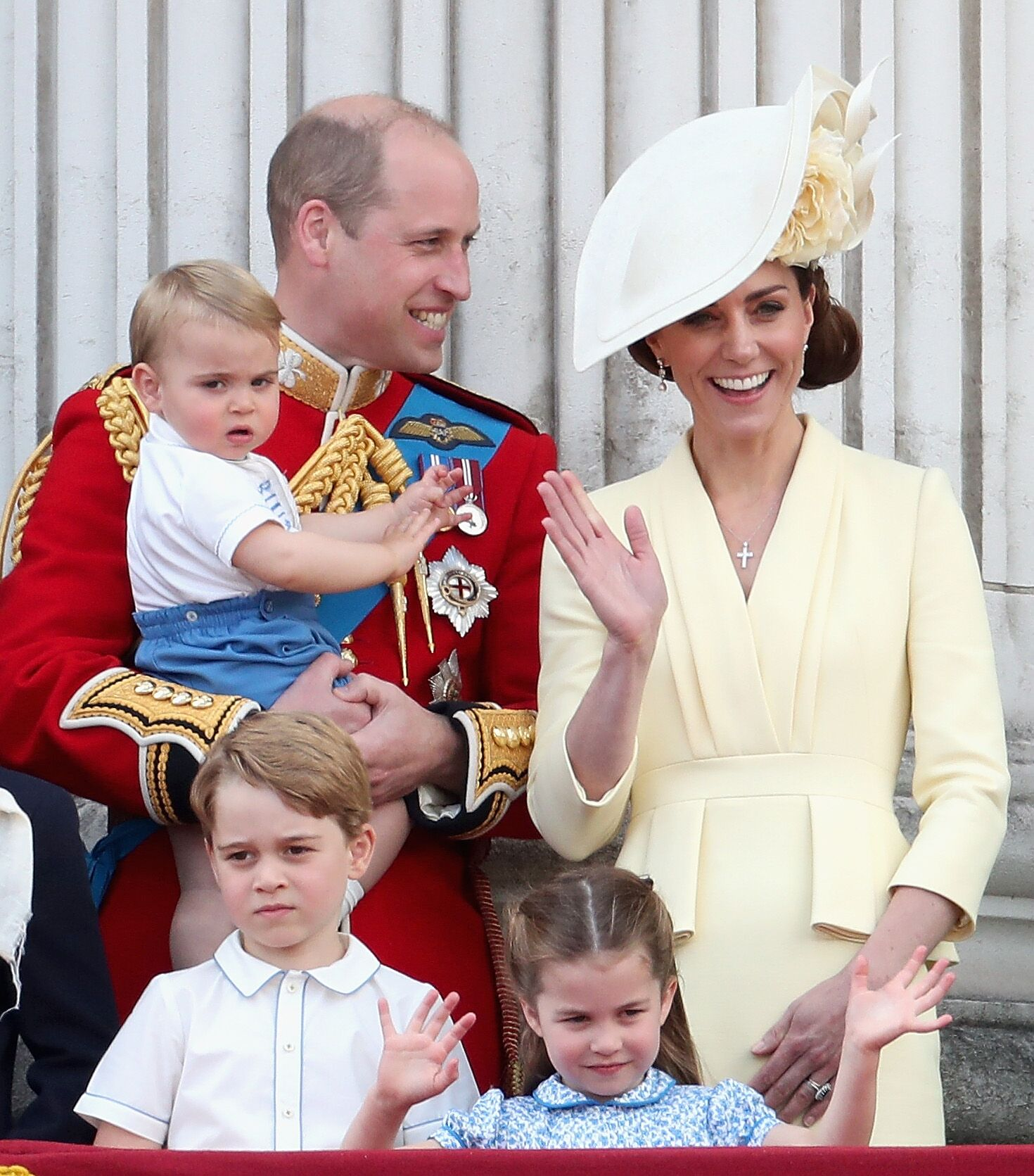 Prince William, Duke of Cambridge, Catherine, Duchess of Cambridge, Prince Louis of Cambridge, Prince George of Cambridge and Princess Charlotte of Cambridge during Trooping The Colour, the Queen's annual birthday parade, in London, England | Photo: Getty Images