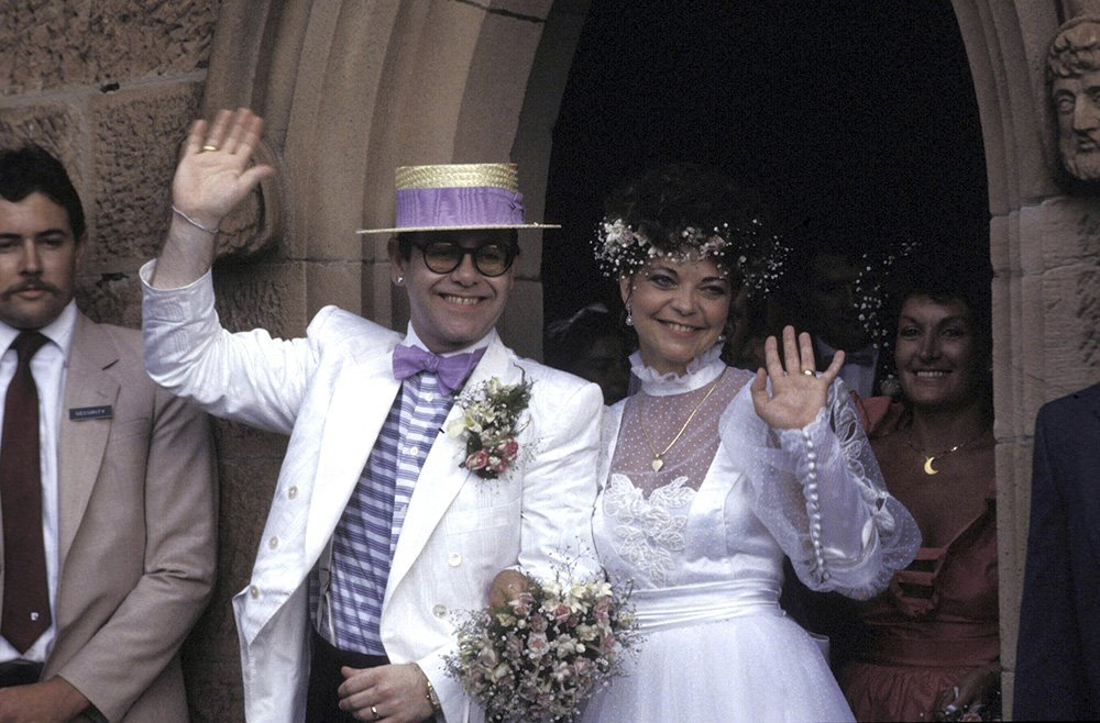 Elton John and Renate Blauel on their wedding day. I Image: Getty Images.