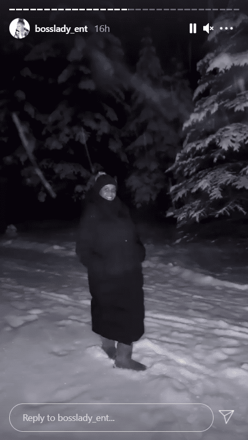 Shante Broadus, dressed in a black floor-length winter coat, poses outside in the snow | Photo: Instagram/bosslady_ent