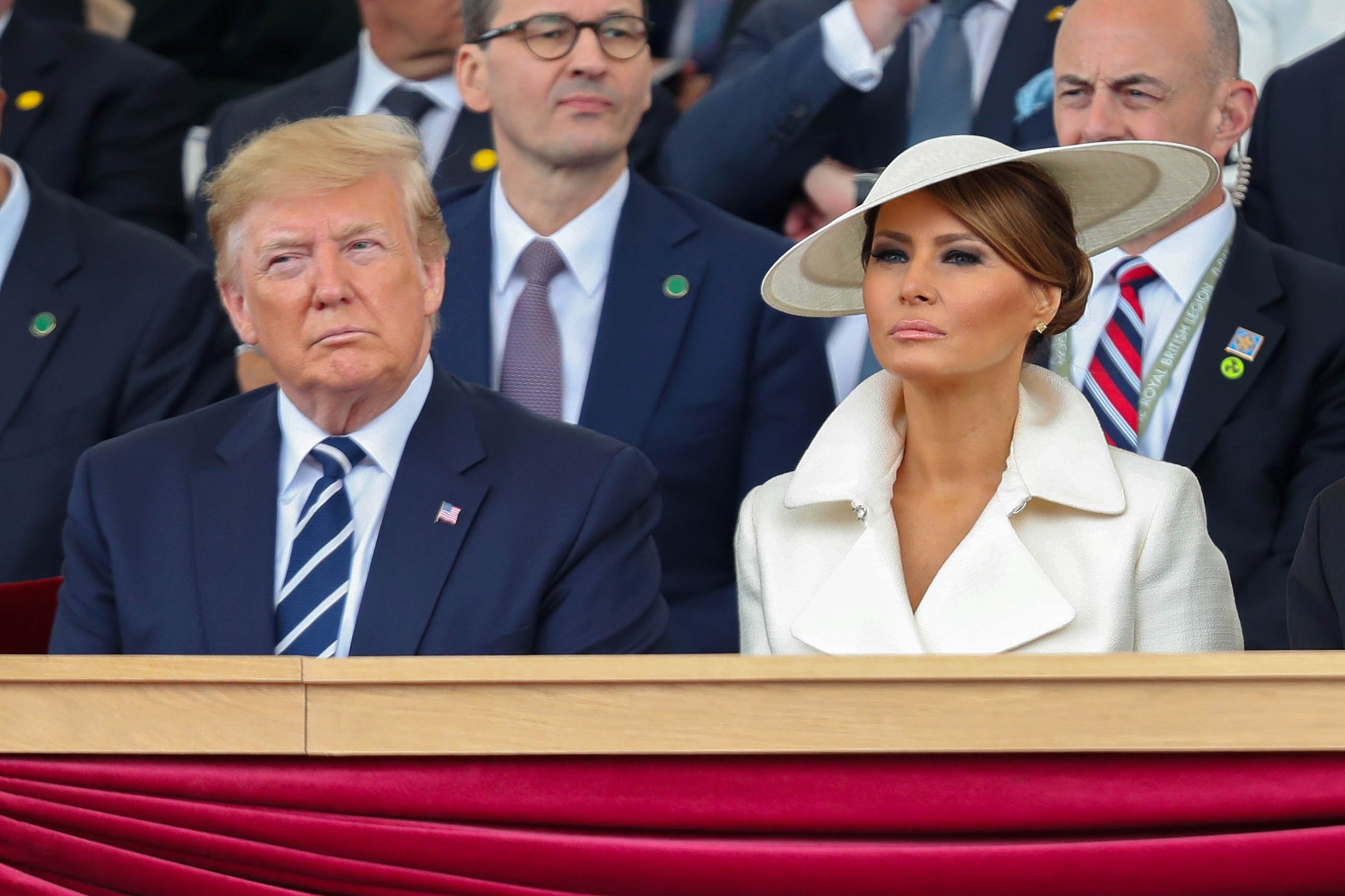 Melania Trump sitting next to Donald Trump at the D-day 75 Commemorations in Portsmouth, England | Photo: Getty Images
