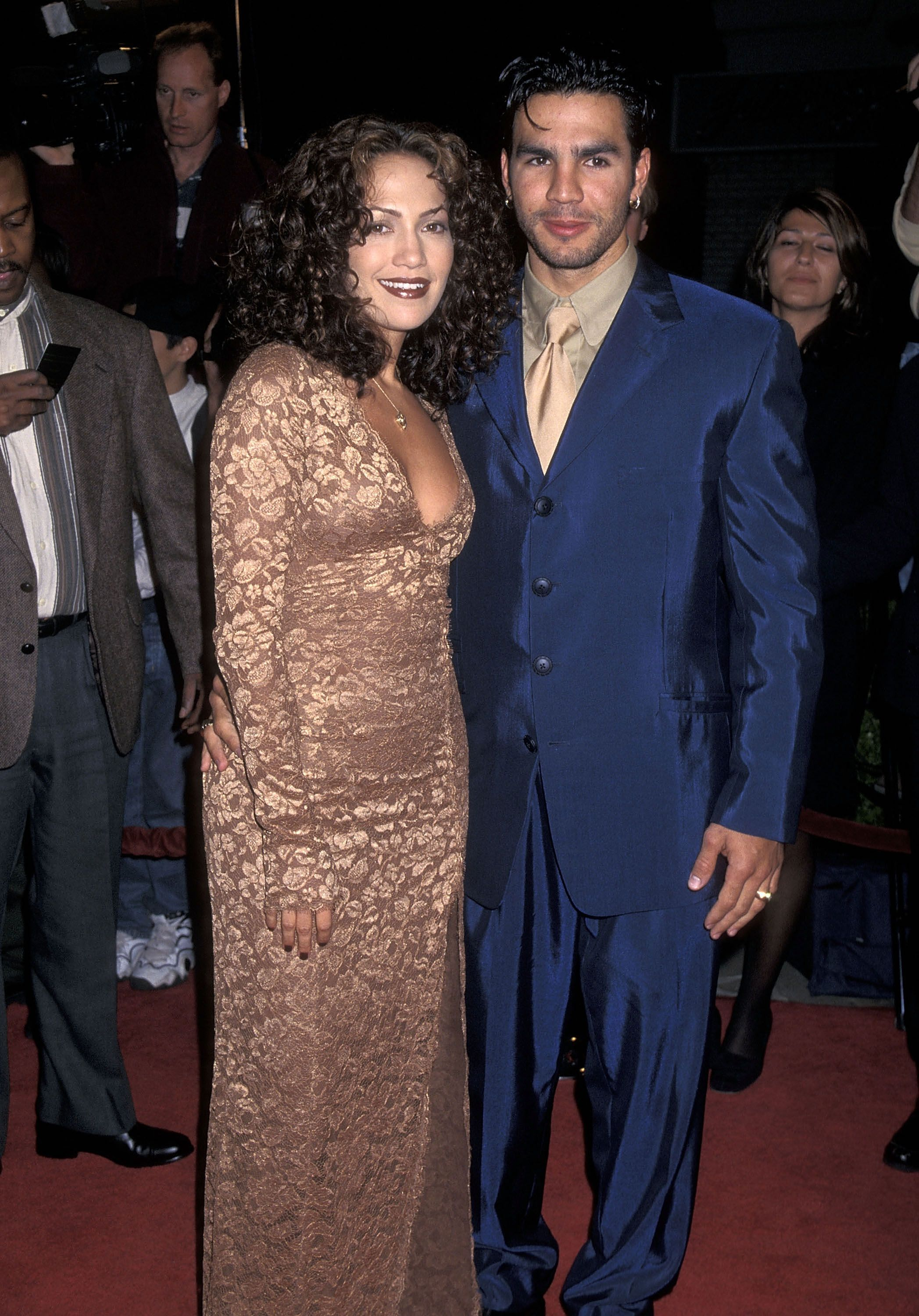 "Jennifer Lopez and husband Ojani Noa at the ""Anaconda"" Westwood Premiere in 1997 in Westwood, California 