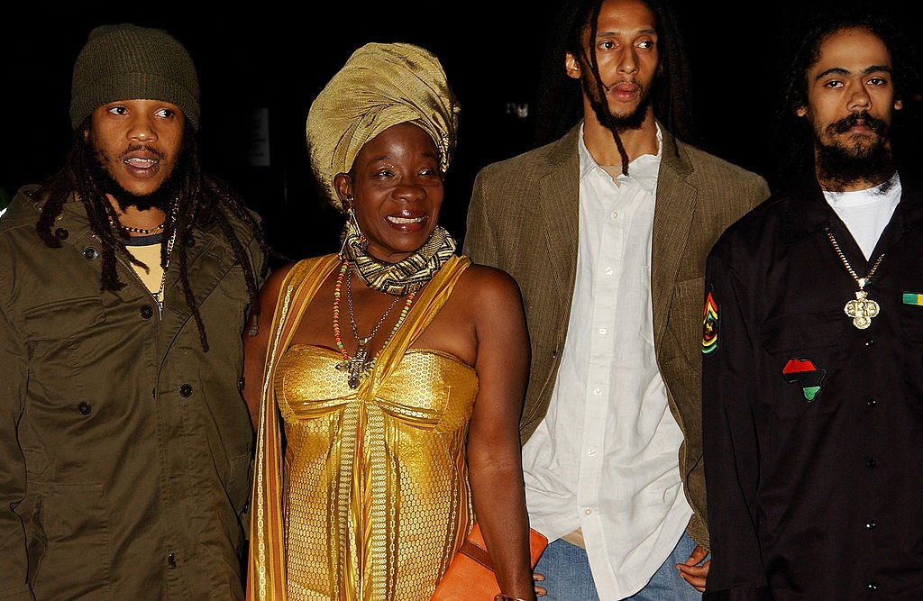 """Bob Marley's widow Rita Marley and their sons, Stephen, Julian, and Damian """"Jr. Gong,"""" arrive at the MOBO Awards on  September 22, 2005 in London, England. 
