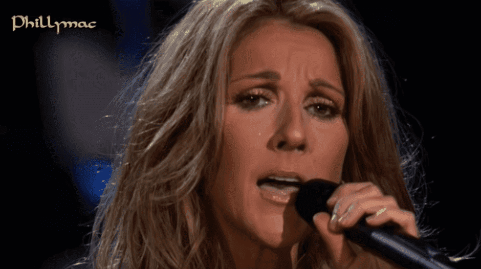 Celine Dion singing her heart out. Image credit: YouTube/Phillymacvideos