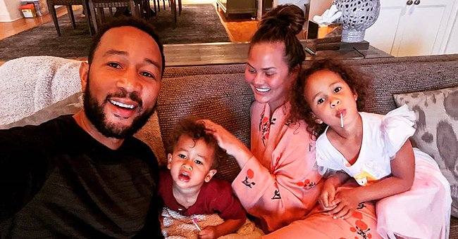 John Legend & Chrissy Teigen Look Relaxed Staying Indoors with Their Kids
