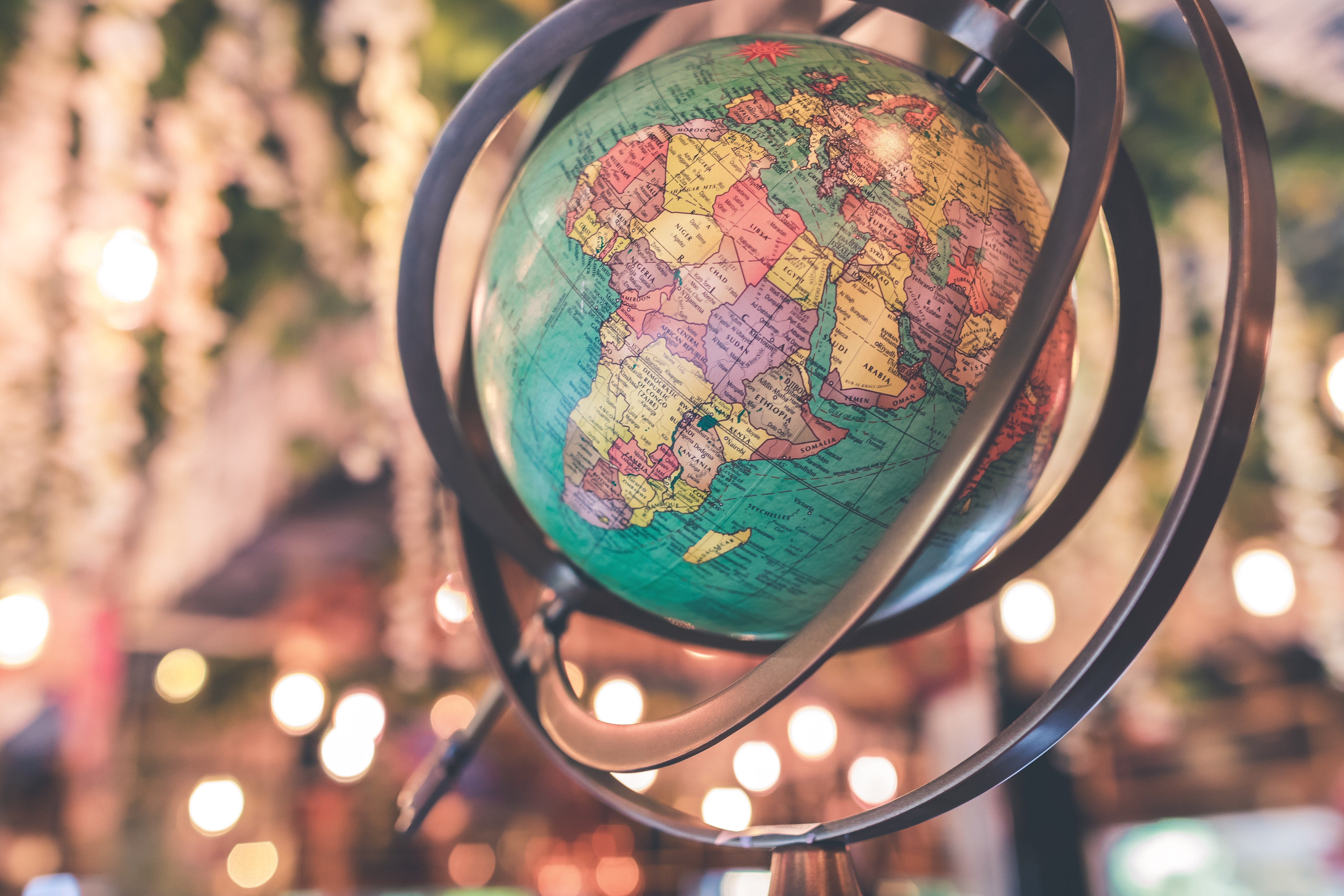 """Print out """"You Mean The World To Me"""" on gold foil paper and cover a globe similar  to this one in it.   Photo: Pexels."""