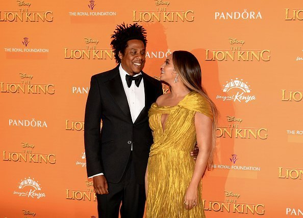"""Beyonce Knowles-Carter and Jay-Z at the European Premiere of Disney's """"The Lion King"""" in London, England.