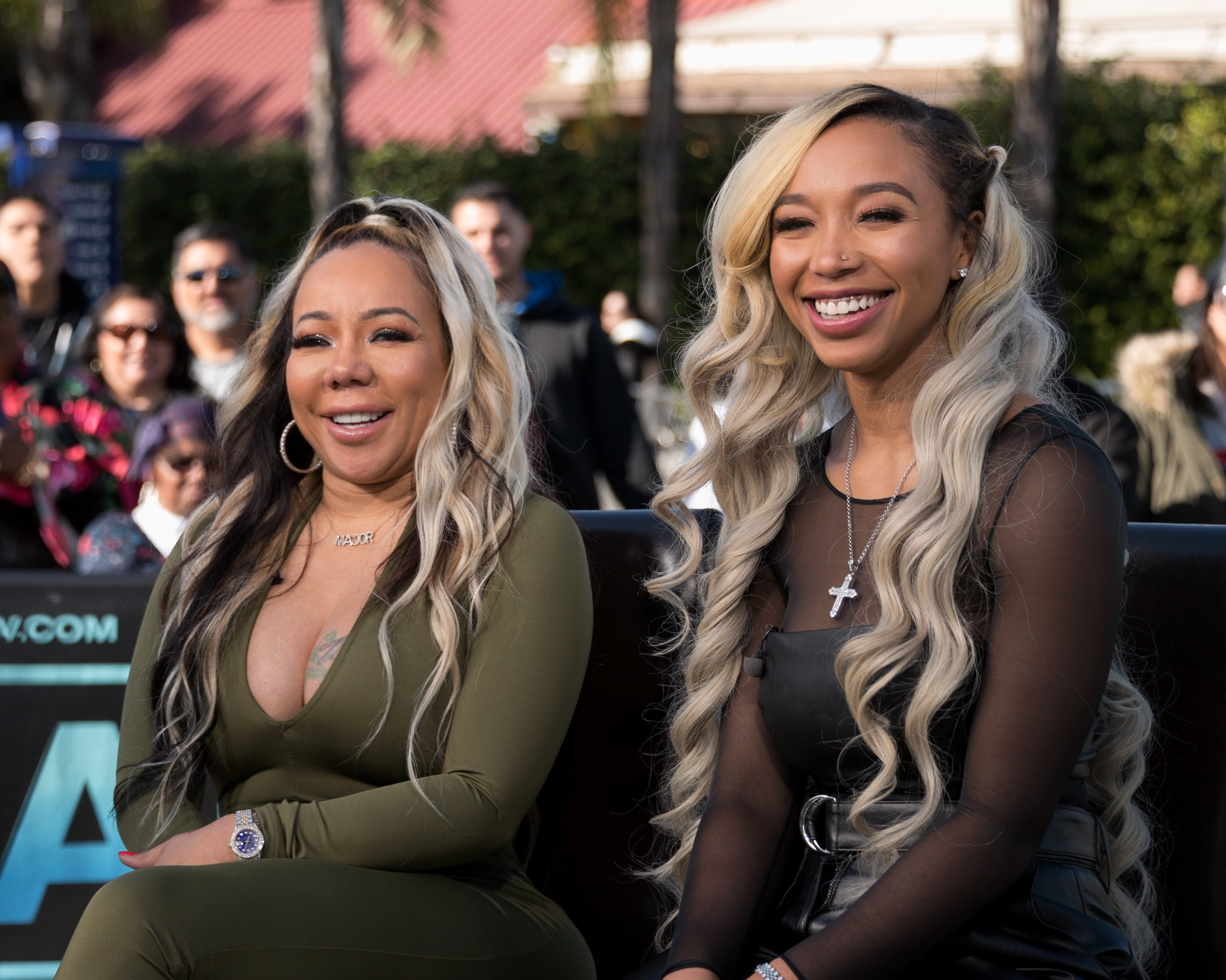 """Tameka Harris and Zonnique Pullins at the set of """"Extra"""" at Universal Studios Hollywood on February 20, 2018 in Universal City, California.