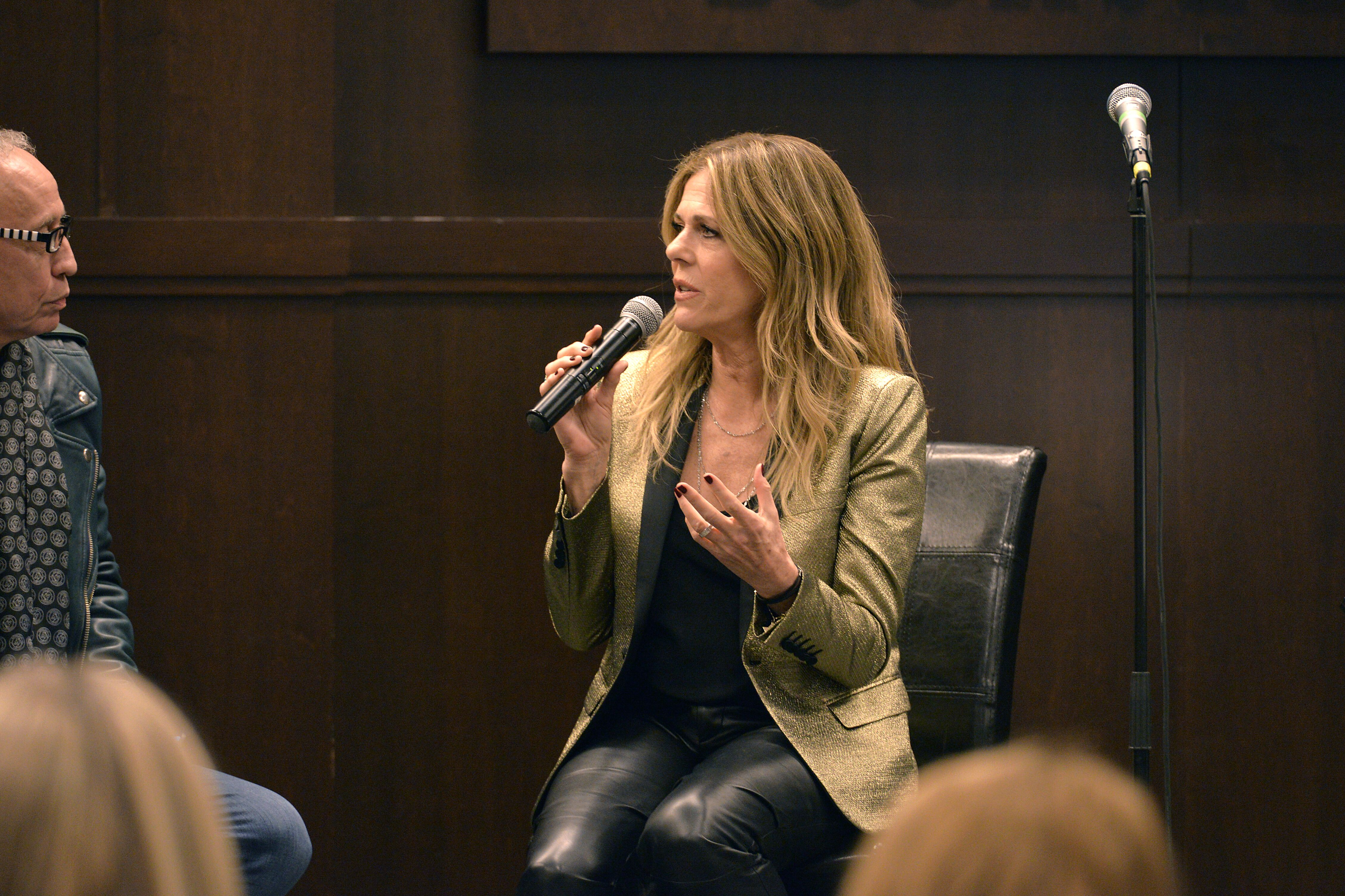 "Rita Wilson speaks at a signing event for her new album ""Halfway To Home"" in 2019 