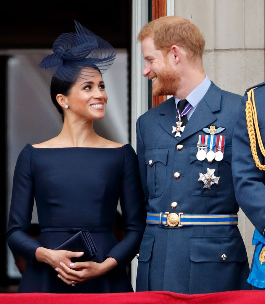 Prince Harry and Meghan Markle at the Buckingham Palace balcony. | Source: Getty Images