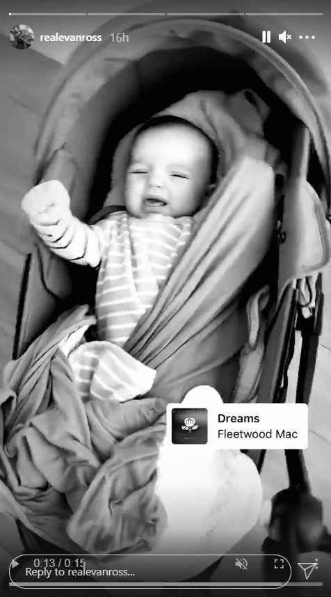 Screenshot of Insta Story showing Evan Ross's baby Ziggy Blue | Soucre: Instagram/realevanross