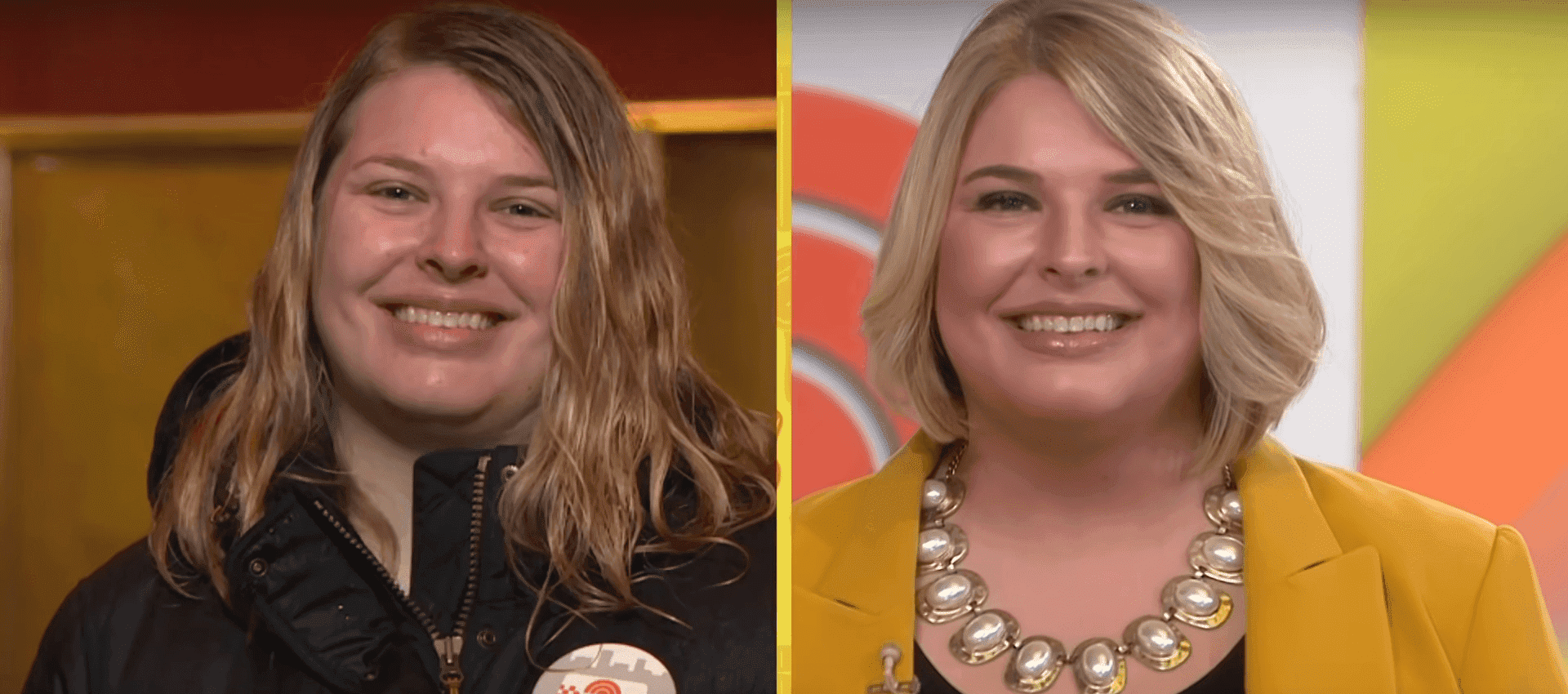 Lauren's hair was highlighted and cut into a bouncy bob that framed her face. Photo: YouTube/Today
