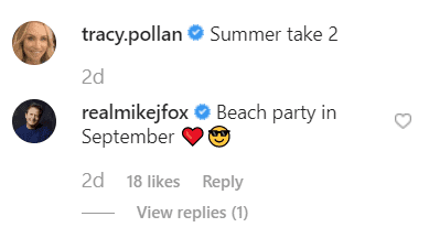 Michael J. Fox's comment on Tracy Pollan's post. | Source: instagram.com/tracy.pollan