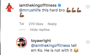 Kory Philips's comment on Toya Wright's post. Source: Instagram.com/toyawright