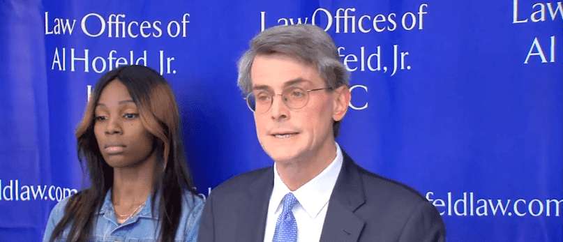 Bures and her attorney, Al Hofeld Jr., in a press conference on Tuesday. | Source: ABC7Chicago