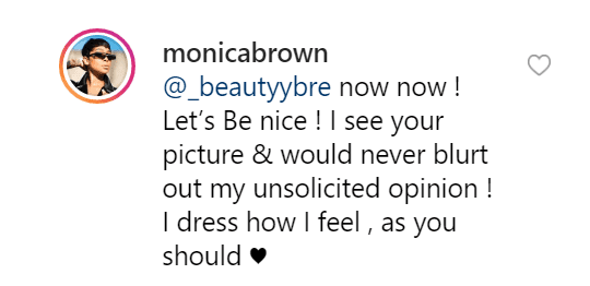 Monica fires back to a fan. | Source: Instagram/monicabrown