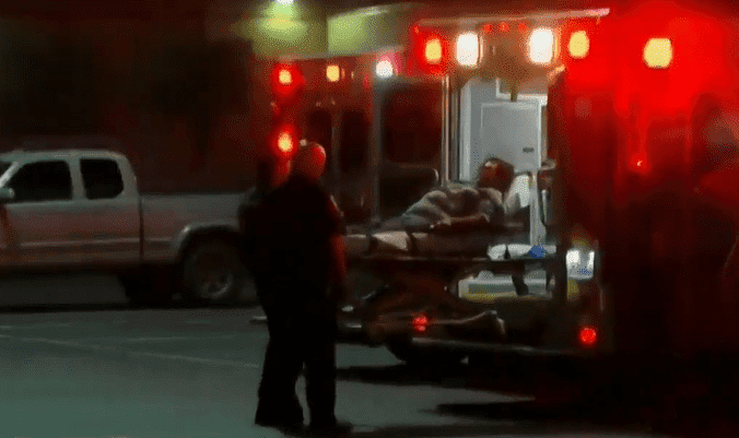 One of the victims being taken by paramedics | Photo: CBS Los Angeles