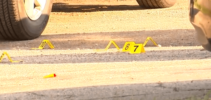 Shell cases scattered along the ground at the scene | Photo: WTHR