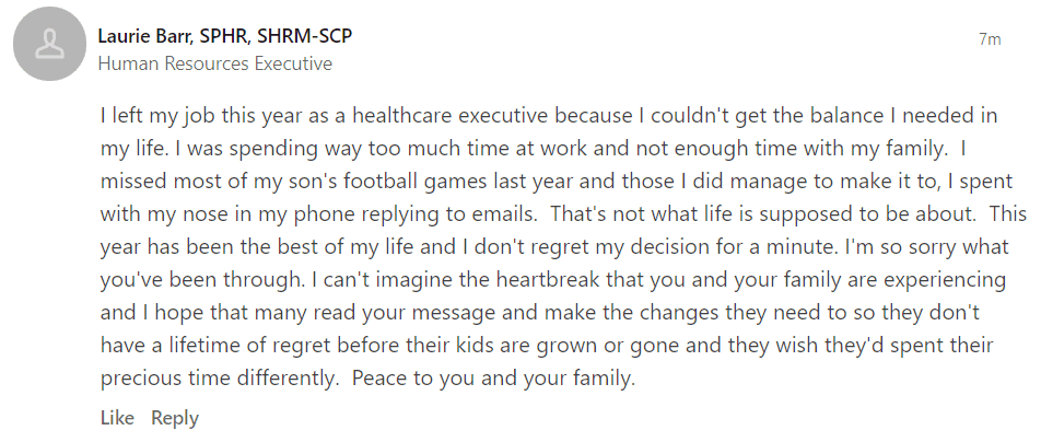 A user's comment on Jessica Brandes' LinkedIn Post. | Source: LinkedIn/JessicaBrandes