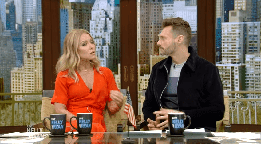 "Kelly Ripa sharing her memories of Luke Perry with Ryan Seacrest on ""Live With Kelly and Ryan"" 