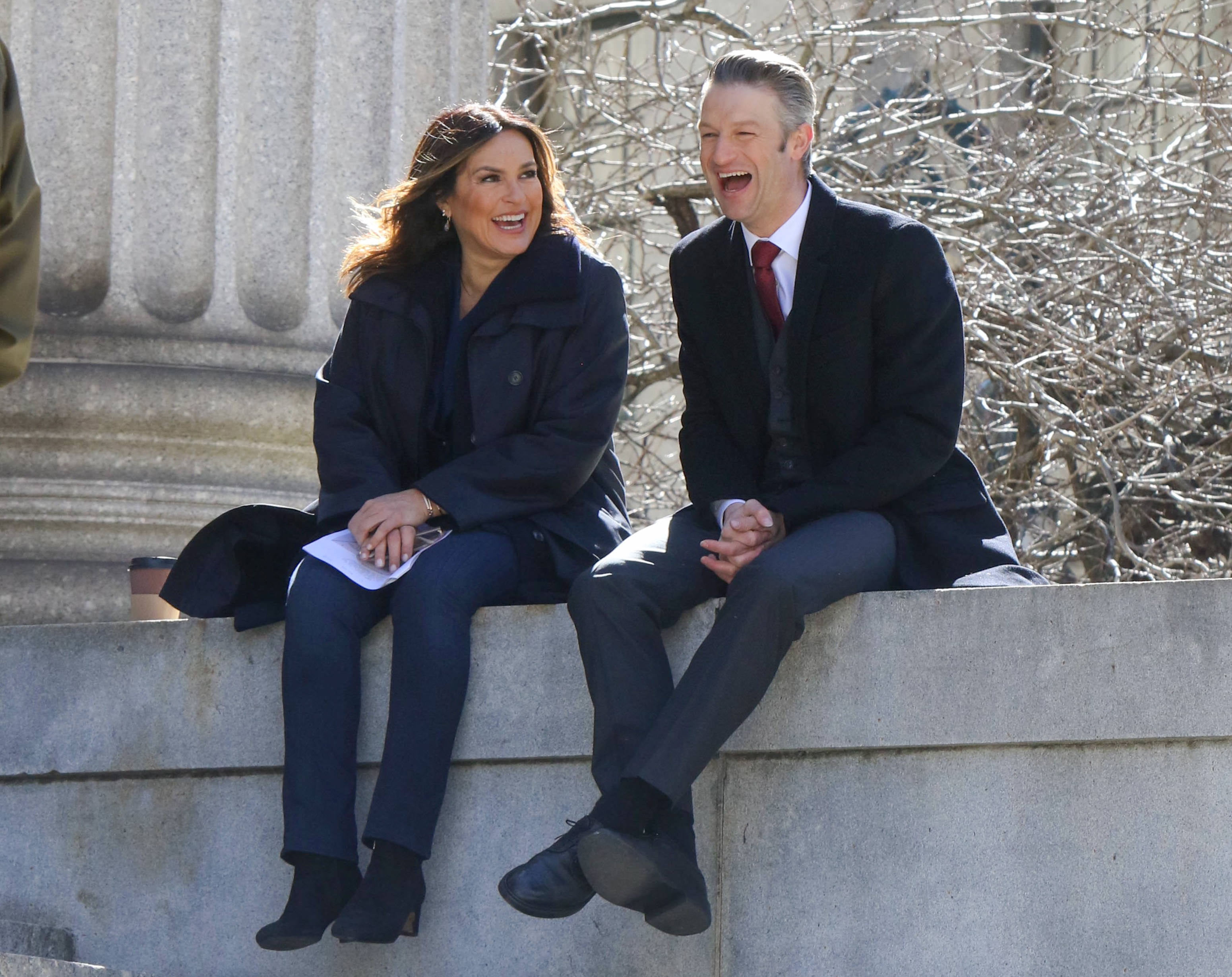 """Mariska Hargitay and Peter Scanavino on set of """"Law and Order: SVU"""" in New York City on March 6, 2020   Photo: Getty Images"""