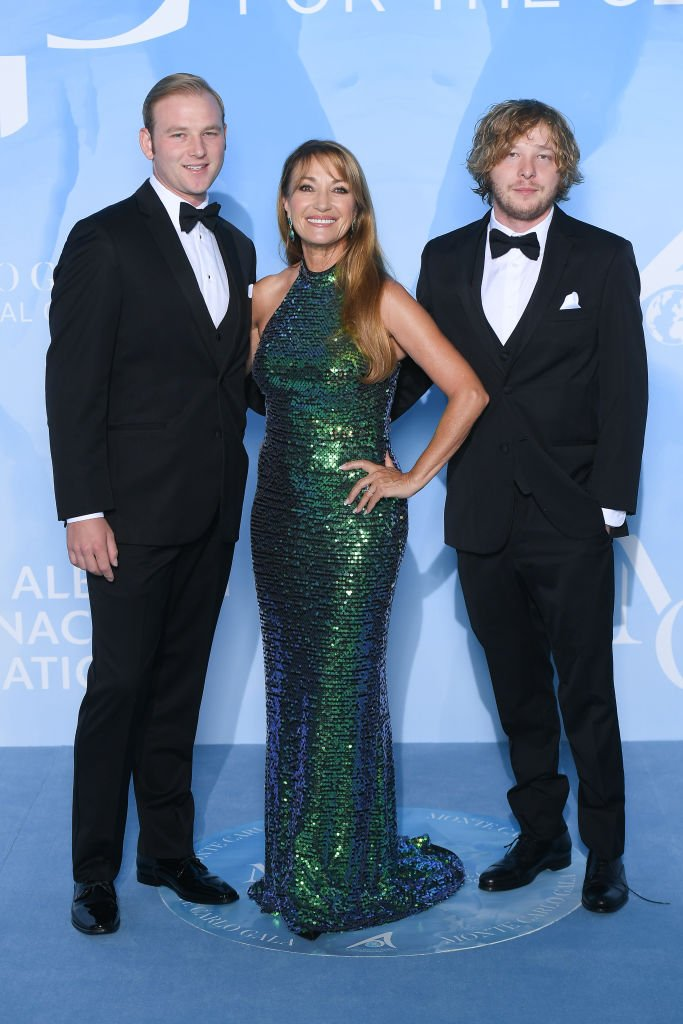 Jane Seymour with her sons Kris Keach and John Keach at the Gala for the Global Ocean at Opera of Monte-Carlo on September 26, 2019 | Photo: Getty Images
