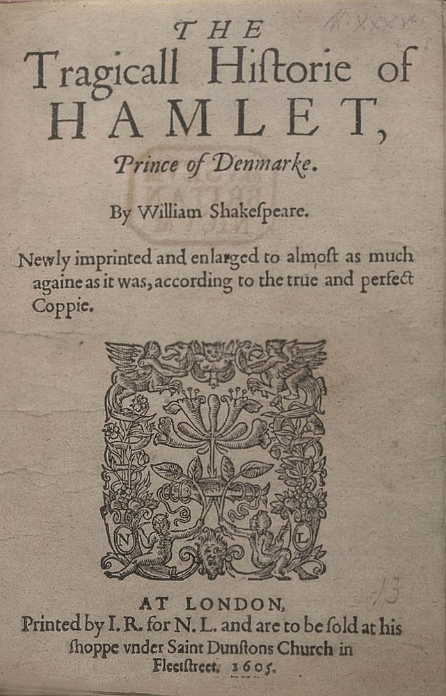 """Frontpage of the play """"Hamlet"""" by William Shakespeare.   Source: Wikimedia Commons."""