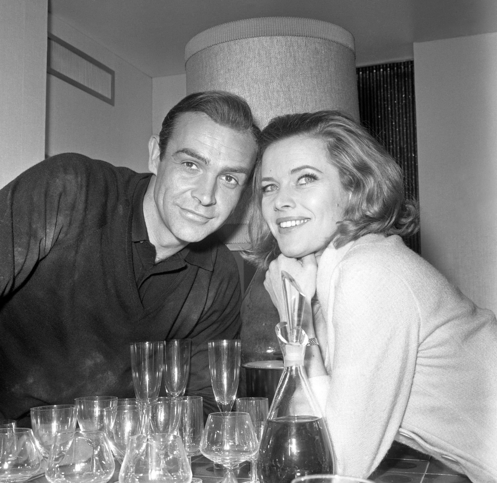 "Honor Blackman and Sean Connery before the filming of ""Goldfinger"" 