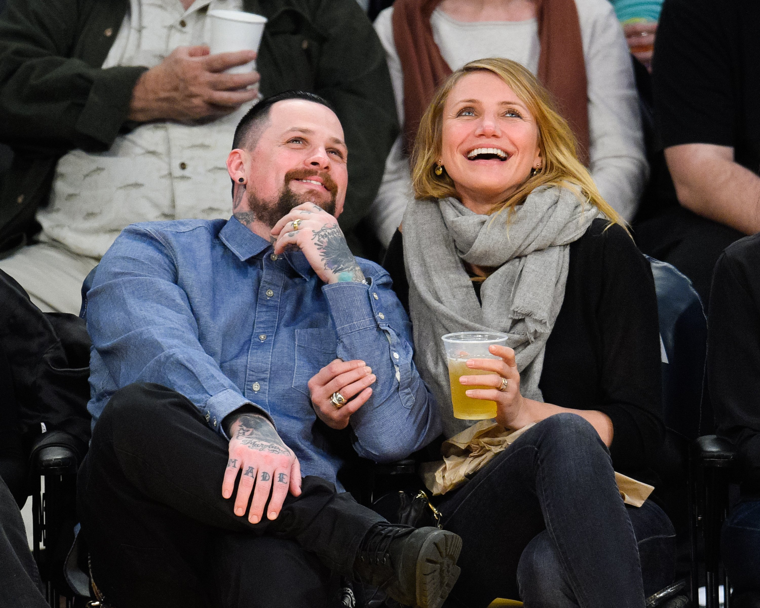 Benji Madden and Cameron Diaz attend a basketball game between the Washington Wizards and the Los Angeles Lakers at Staples Center on January 27, 2015, in Los Angeles, California. | Source: Getty Images.