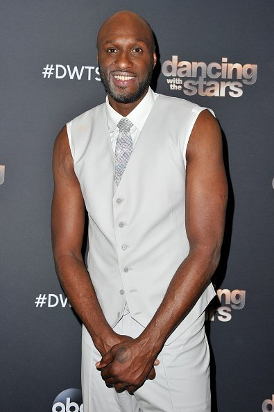 "Lamar Odom posing for a photo after the ""Dancing With The Stars"" Season 28 show  in Los Angeles, California.