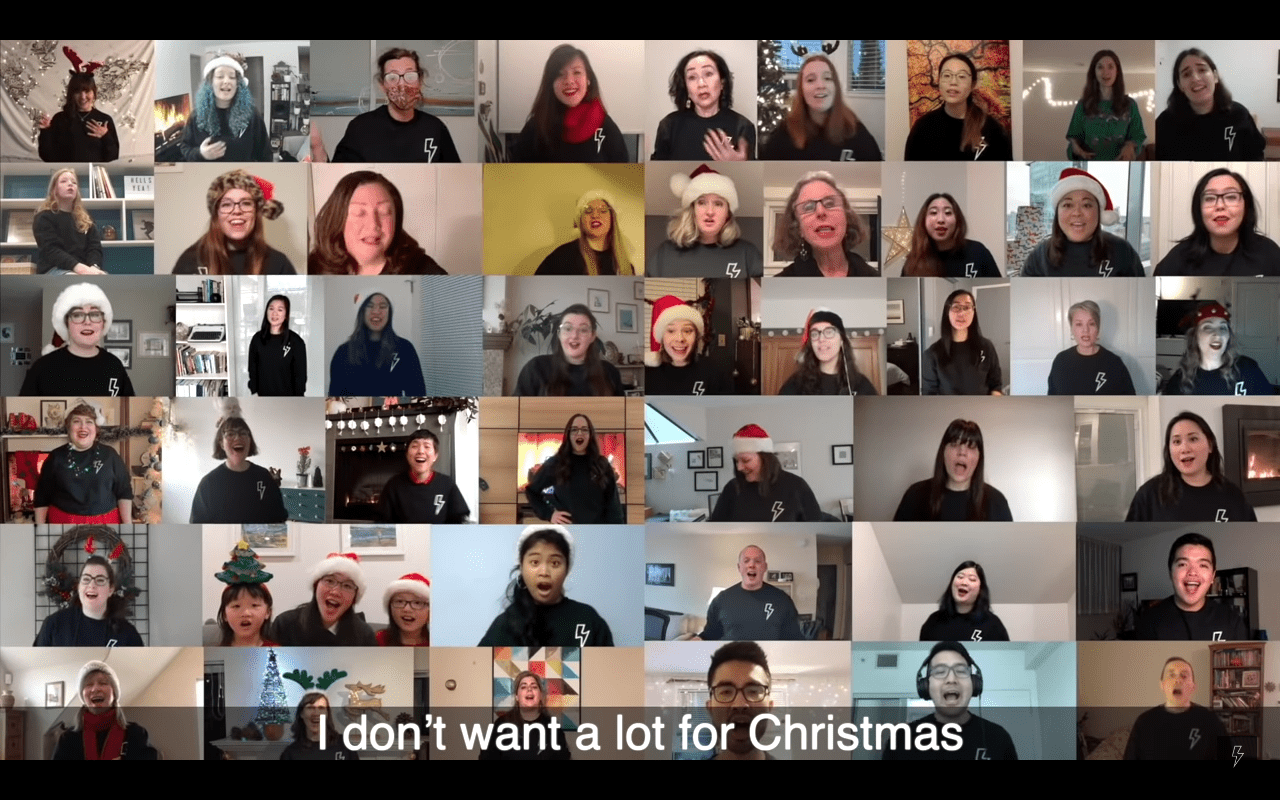 """Screenshot of Vancouver's choir singing """"All I Want For Christmas Is You"""" parody. 