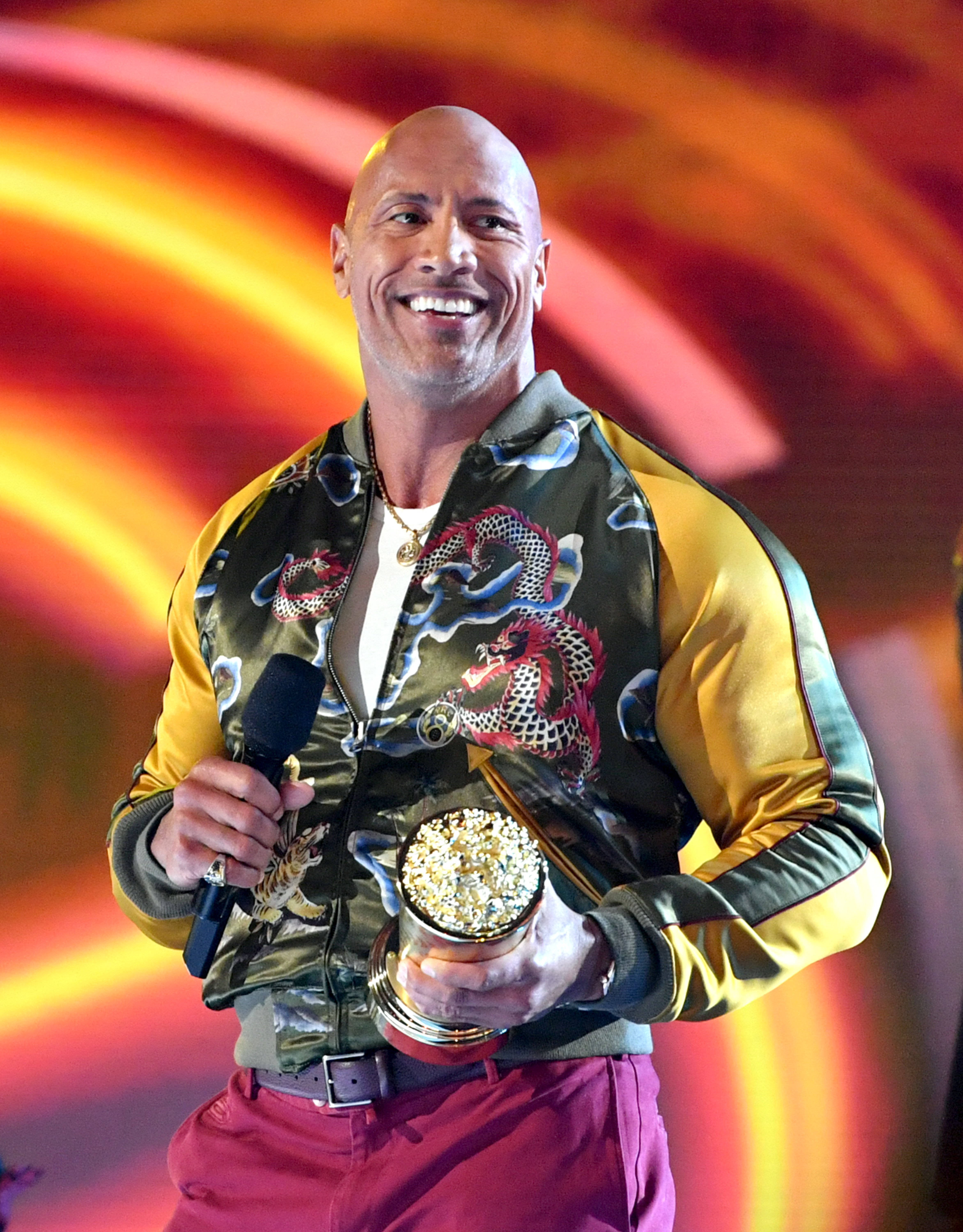 Dwayne Johnson attends the 2019 MTV Movie and TV Awards at Barker Hangar   Source: Getty Images