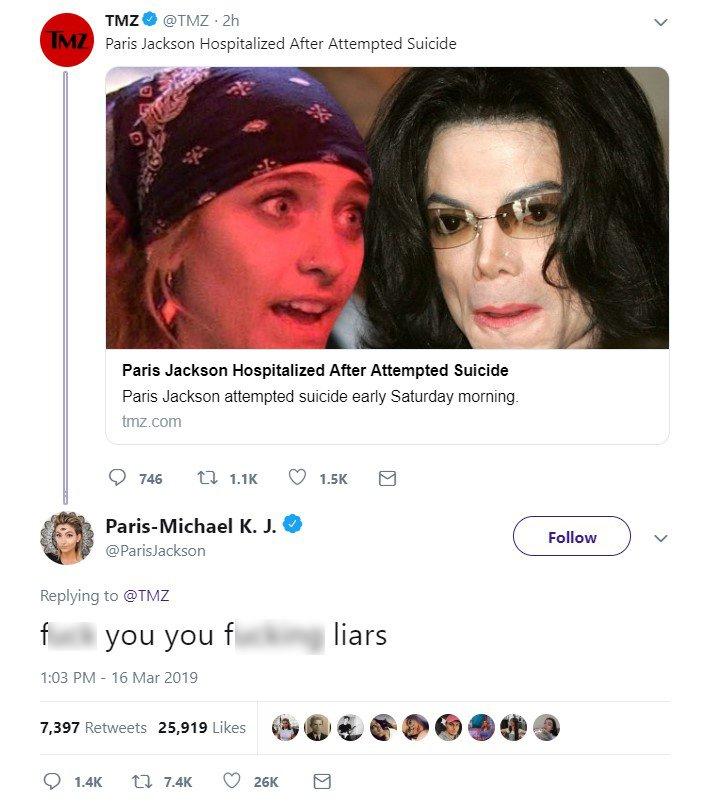 Paris Jackson's reaction to TMZ's article | Photo: Twitter/Paris Jackson