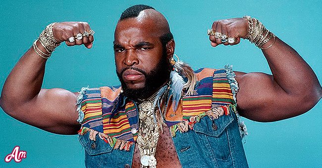 Mr. T does one of his famous poses on the set of A-Team   source: Getty Images