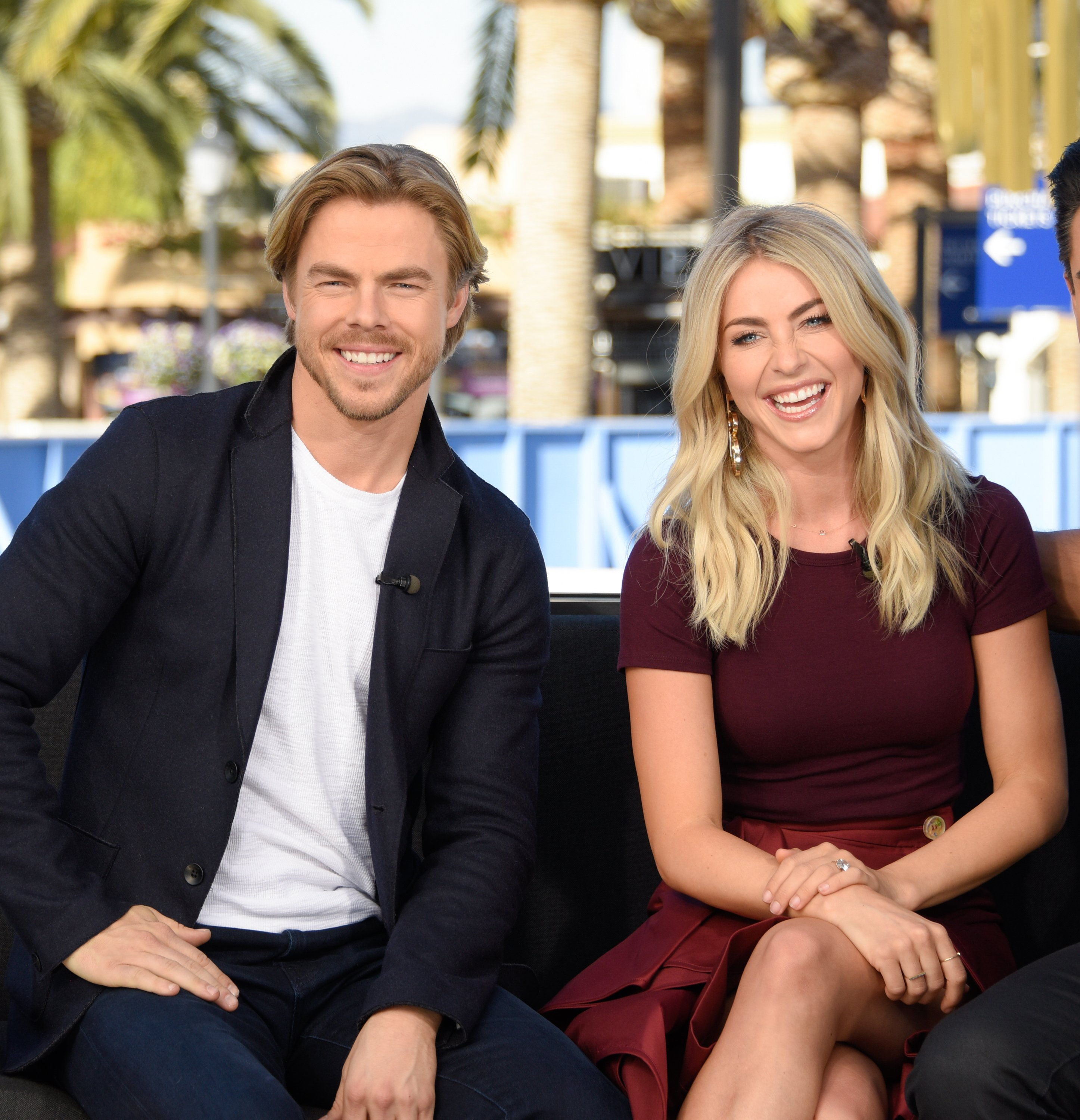 """Derek Hough and Julianne Hough visit """"Extra"""" at Universal Studios Hollywood on March 7, 2017. 