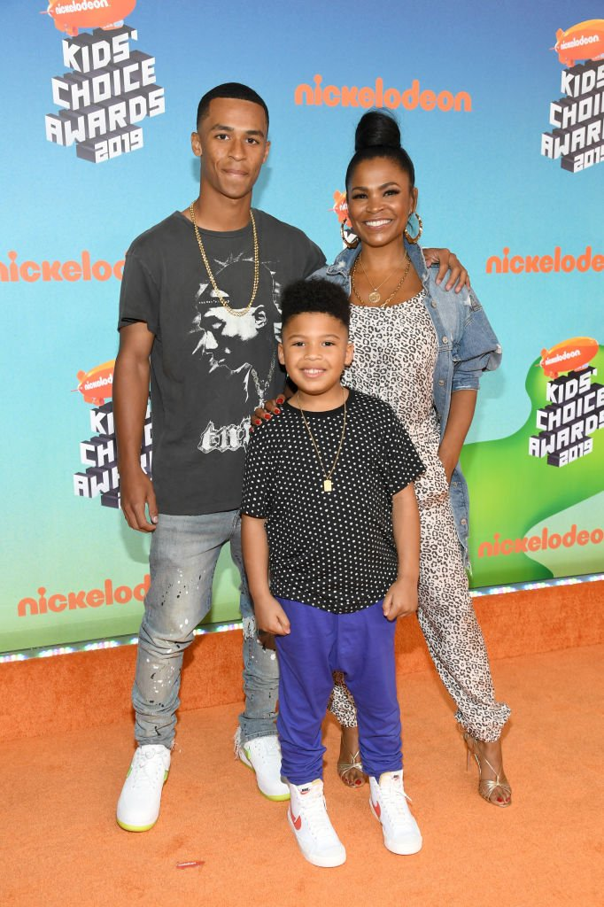 Massai Zhivago Dorsey II, Kez Sunday Udoka, and Nia Long attend Nickelodeon's 2019 Kids' Choice Awards at Galen Center on March 23, 2019 in Los Angeles, California. I Image: Getty Images.