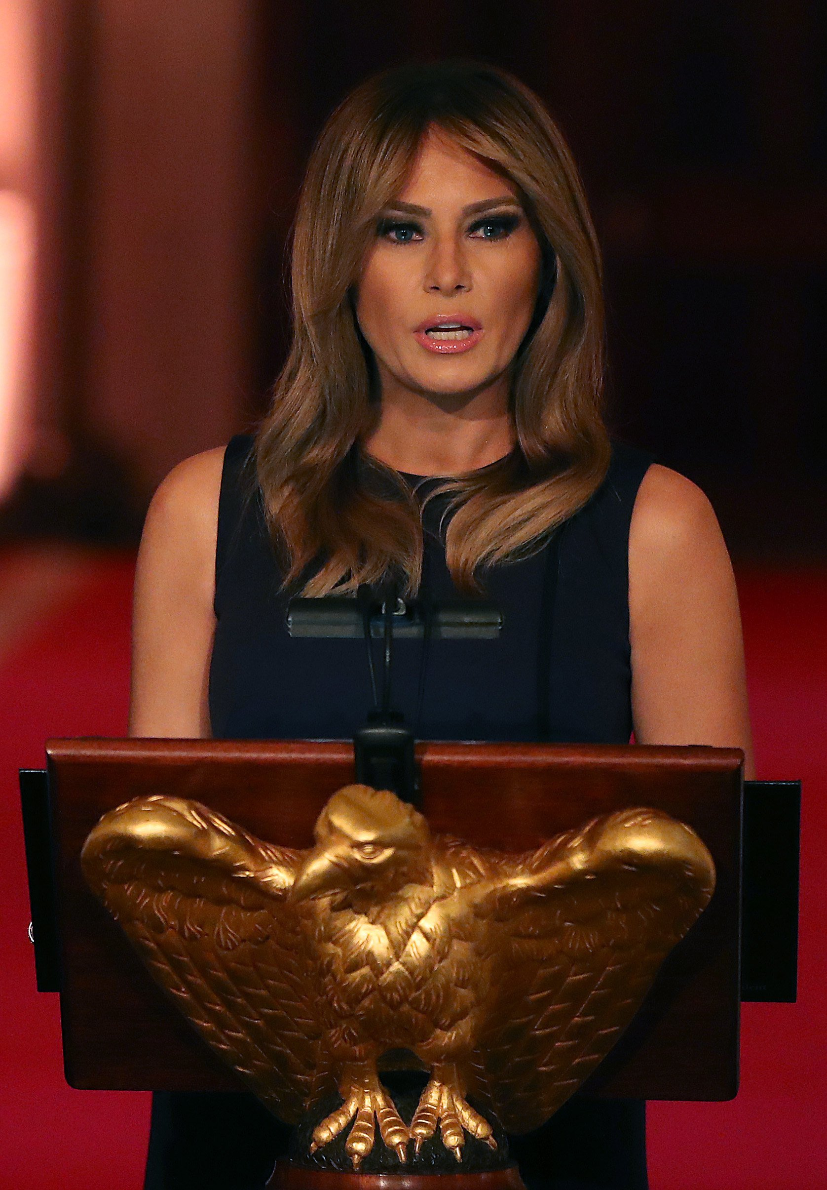 Melania Trump speaks during the White House Historical Association Dinner in the East Room of the White House on May 15, 2019, in Washington, DC. | Source: Getty Images.