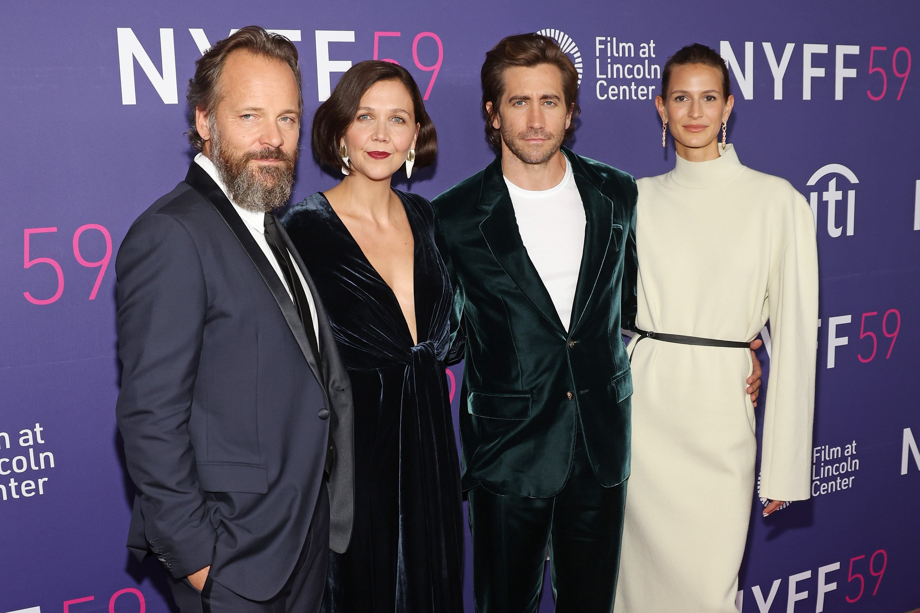 """Peter Sarsgaard, Maggie Gyllenhaal, Jake Gyllenhaal, and Jeanne Cadieu pictured at the premiere of """"The Lost Daughter,"""" 2021, New York City.   Photo: Getty Images"""