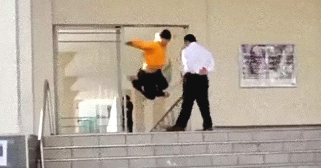 Skateboarder Ignores Security Guard's Request and the Man Teaches Him a Cruel Lesson