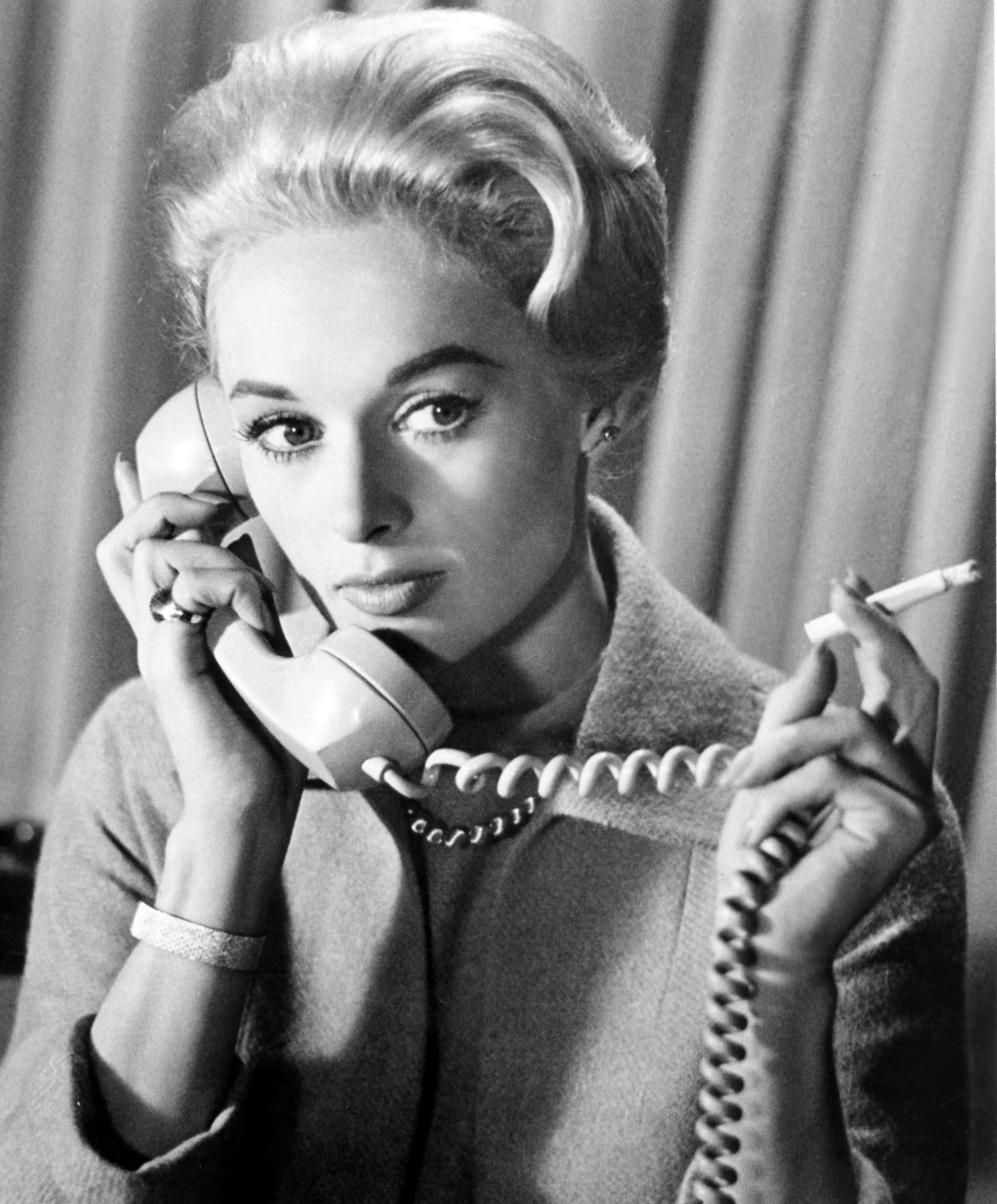 "Tippi Hedren in a scene from the 1963 Alfred Hitchcock movie ""The Birds."" 