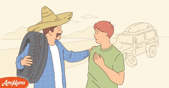 Mexican immigrant helps man fix a car breakdown | Photo: Amomama