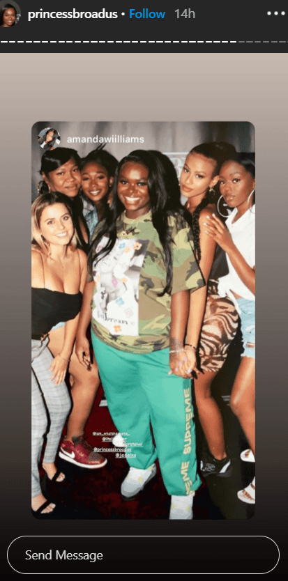 "Cori Broadus posing with friends for a picture at her ""21 EP Release Party."" 